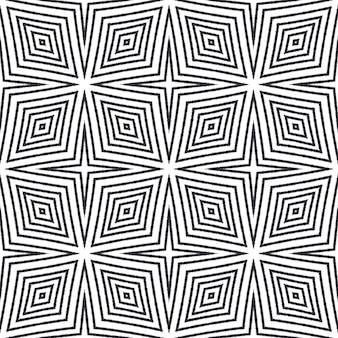 Ikat powtarzający się projekt stroju kąpielowego. czarne tło symetryczne kalejdoskop. tekstylny, przyjemny nadruk, tkanina na stroje kąpielowe, tapeta, opakowanie. letni wzór bluzy ikat.