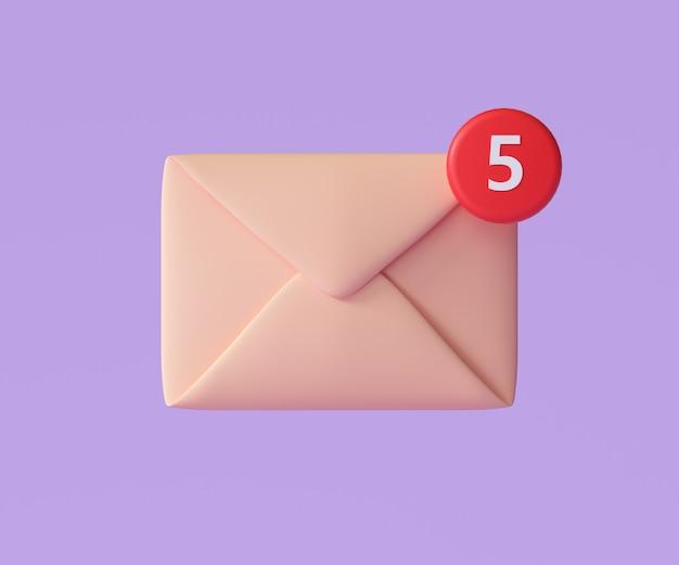 Ikona 3d e-mail z powiadomieniem, logo nieprzeczytanej poczty. ilustracja renderowania 3d