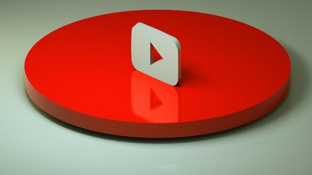 Ikona 3d W Mediach Społecznościowych Youtube Premium Zdjęcia