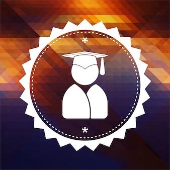 Ikona absolwenta. projekt etykiety retro. hipster tło z trójkątów, efekt przepływu koloru.