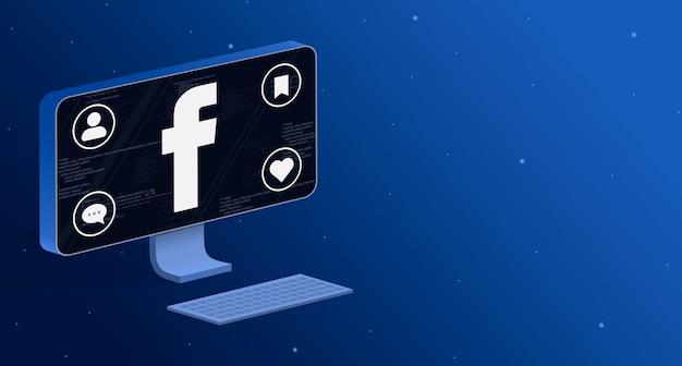 Ikona aplikacji facebook na ekranie komputera z odznakami aktywności społecznej 3d
