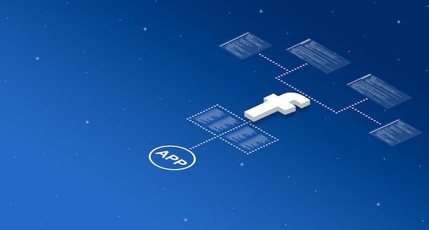 Ikona aplikacji facebook w systemie z elementami kodu programu 3d