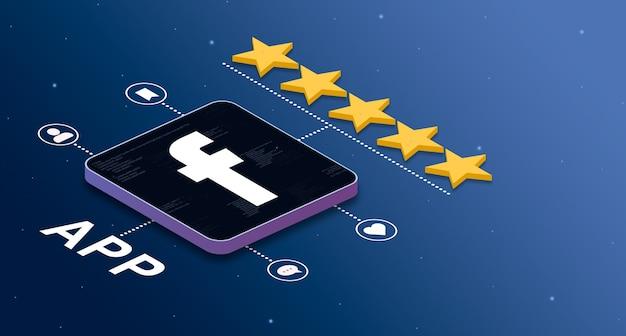 Ikona aplikacji facebook z oceną 5 gwiazdek i odznakami aktywności społecznościowej 3d