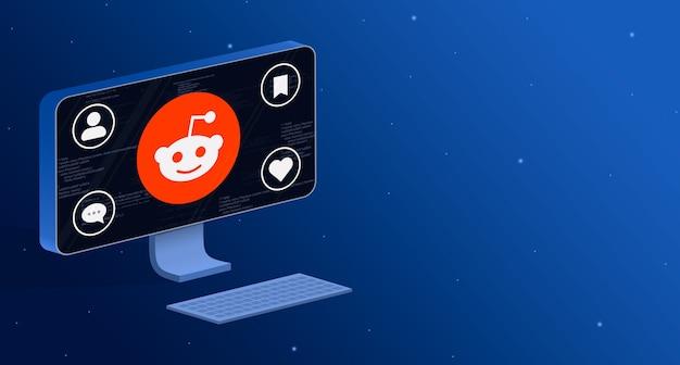 Ikona aplikacji reddit na ekranie komputera z odznakami aktywności społecznej 3d