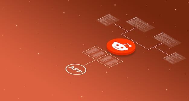 Ikona aplikacji reddit w systemie z elementami kodu programu 3d