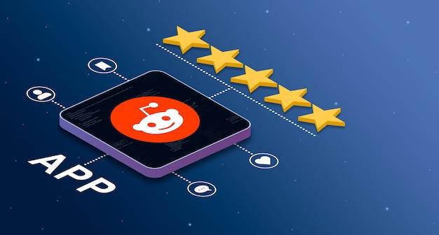 Ikona aplikacji reddit z oceną 5 gwiazdek i odznakami aktywności społecznościowej 3d