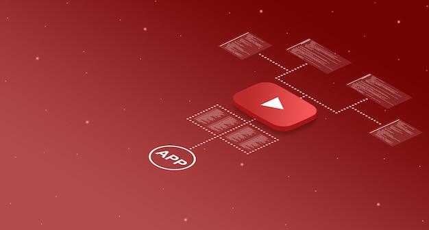 Ikona aplikacji youtube w systemie z elementami kodu programu 3d