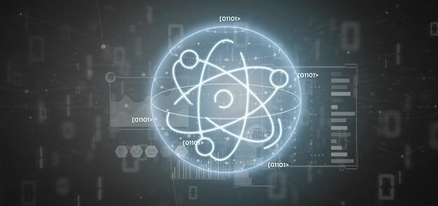 Ikona atomu otoczona danymi