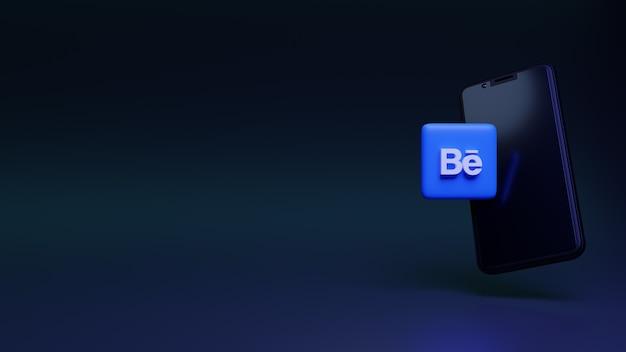 Ikona behance ze smartfonem 3d renderująca media społecznościowe