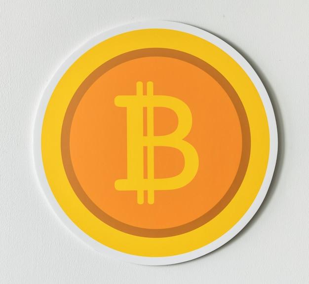 Ikona bitcoin cryptocurrency złoty na białym tle