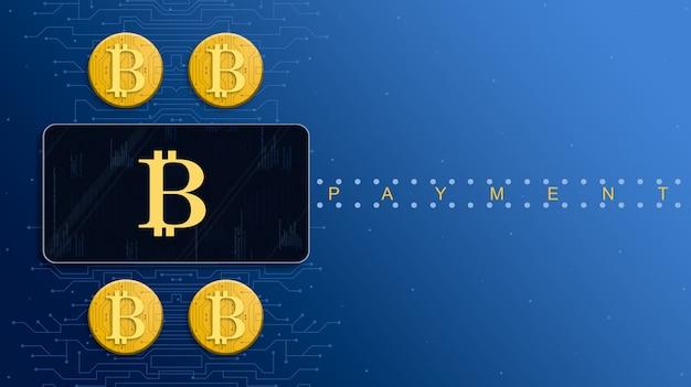 Ikona bitcoin na ekranie procesora płatności obok złotych monet bitcoin 3d
