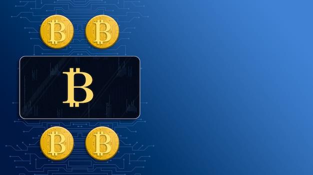 Ikona bitcoin na ekranie telefonu obok złotych monet bitcoin 3d