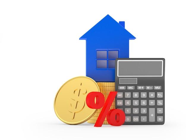 Ikona domu na monety dolara z kalkulatorem. 3d