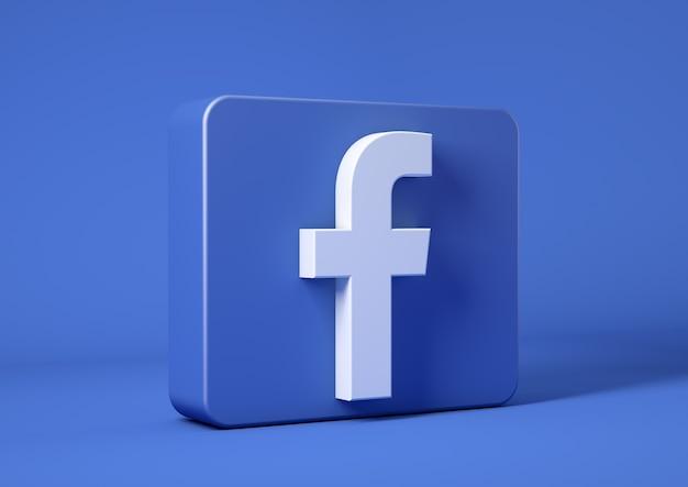 Ikona facebook na niebieskim tle w kwadracie