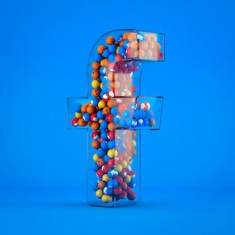 Ikona facebook na niebieskim tle z ikonami w środku