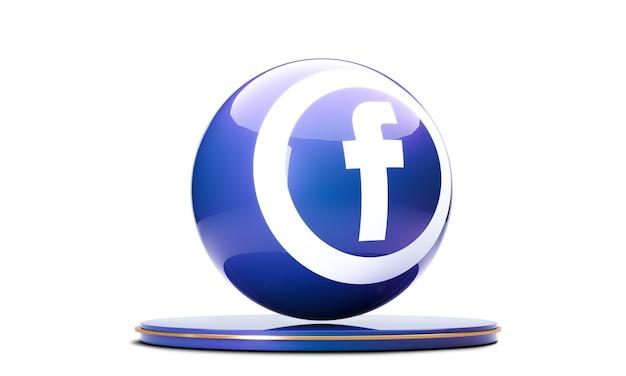 Ikona facebook w sferze 3d na białym tle.