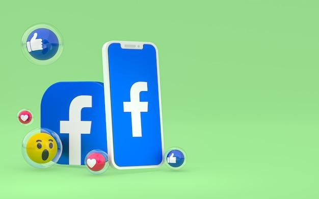 Ikona facebooka na ekranie smartfona i reakcje na facebooku