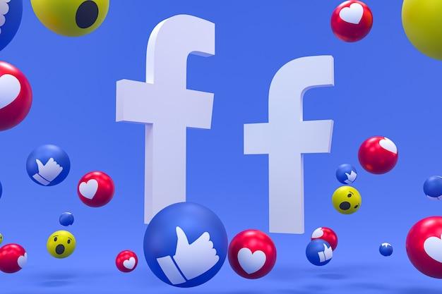 Ikona facebooka na ekranie smartfona lub mobilnego renderowania 3d i reakcje na facebooku