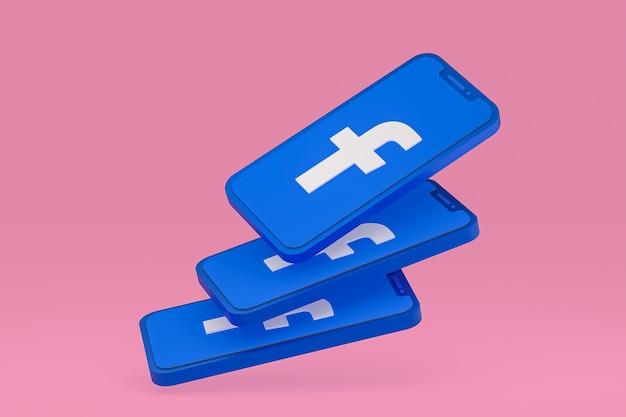 Ikona facebooka na ekranie smartfona lub renderowania 3d telefonu komórkowego