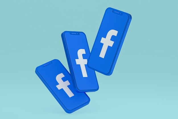Ikona facebooka na ekranie smartfona lub telefonu komórkowego renderowania 3d