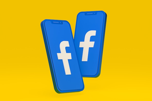 Ikona facebooka na ekranie telefonów komórkowych renderowania 3d
