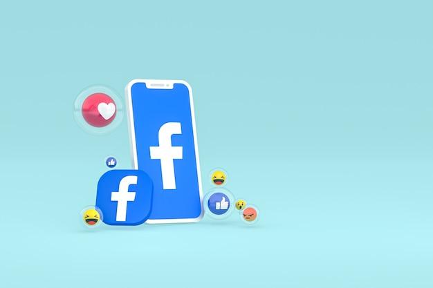 Ikona facebooka na ekranie telefonu komórkowego z emotikonami renderowania 3d