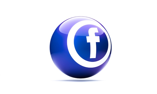 Ikona facebooka w stylu kuli 3d