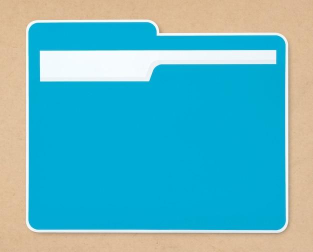 Ikona folderu niebieski dokument na białym tle