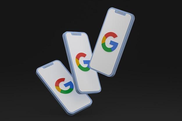 Ikona google na ekranie smartfona lub renderowania 3d telefonu komórkowego