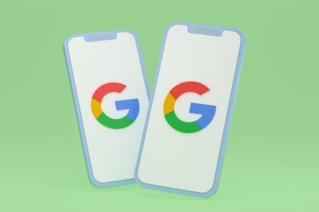Ikona google na ekranie smartfona lub telefonu komórkowego renderowania 3d
