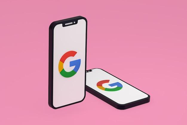 Ikona google na ekranie telefonów komórkowych renderowania 3d