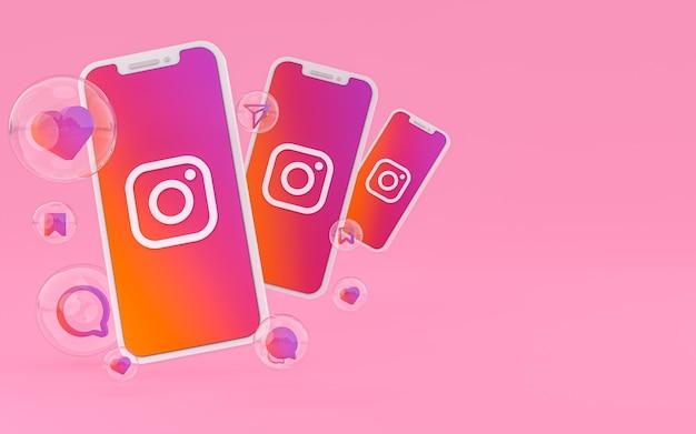 Ikona instagram na ekranie smartfona lub mobilnego i instagramowego renderowania reakcji miłości
