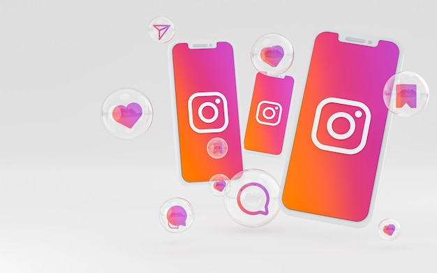 Ikona instagram na ekranie smartfona lub reakcji na telefon komórkowy i instagram renderowania 3d