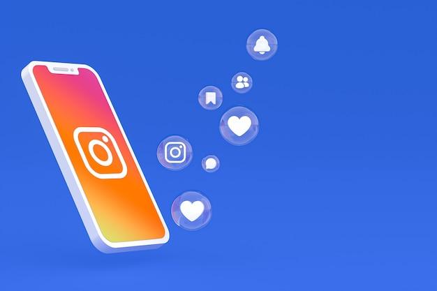 Ikona instagram na ekranie smartfona lub renderowania 3d telefonu komórkowego