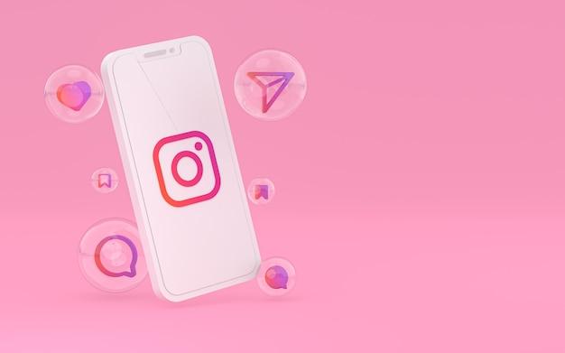 Ikona instagram na ekranie telefonu komórkowego renderowania 3d