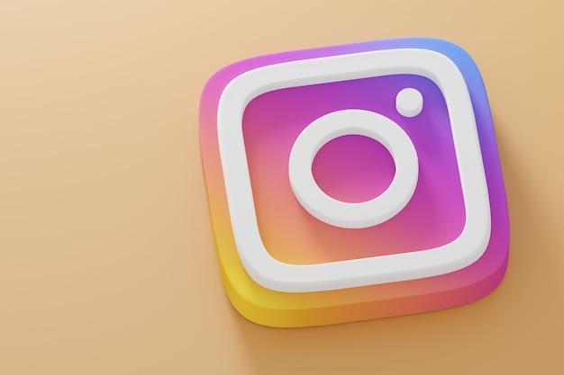Ikona instagram renderowania 3d z bliska na żółtym tle. szablon promocji konta.