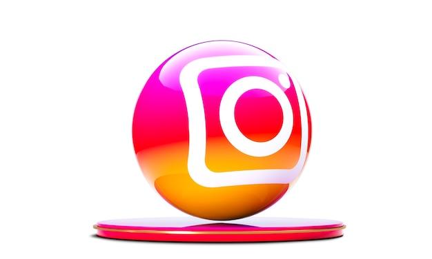 Ikona instagram w sferze 3d na białym tle.