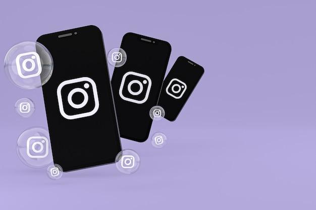 Ikona instagrama na ekranie smartfona lub reakcje mobilne i instagramowe uwielbiają renderowanie 3d na fioletowym tle