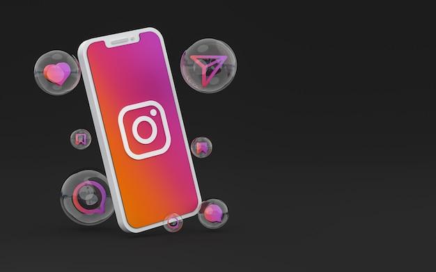 Ikona instagrama na ekranie smartfona lub reakcje mobilne i instagramowe uwielbiają renderowanie 3d
