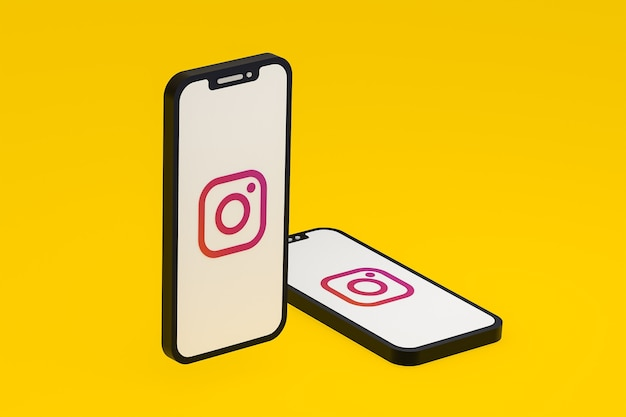 Ikona instagrama na ekranie smartfona lub renderowania 3d telefonu komórkowego