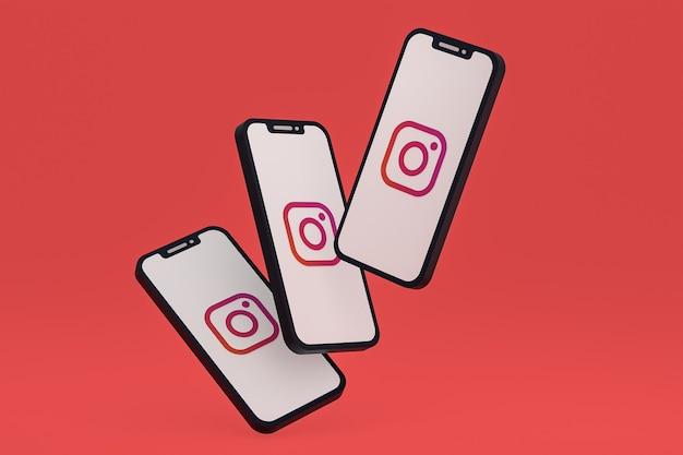 Ikona instagrama na ekranie smartfona lub telefonu komórkowego renderowania 3d