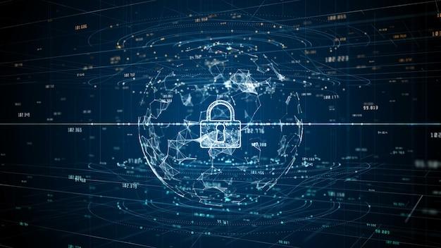 Ikona kłódki cyberbezpieczeństwa danych cyfrowych, ochrony sieci danych cyfrowych