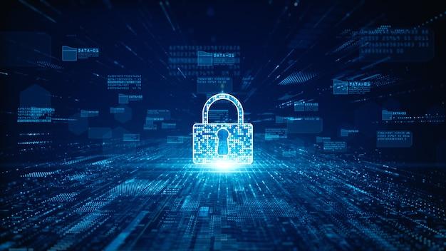 Ikona kłódki dla cyberbezpieczeństwa danych cyfrowych