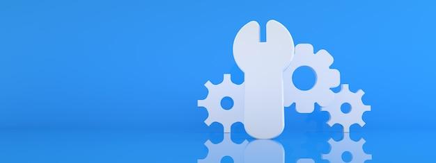 Ikona klucza i koła zębatego na niebieskim tle, renderowanie 3d, koncepcja serwisu, ustawień i naprawy, makieta panoramiczna