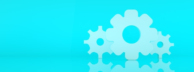 Ikona koła zębatego na niebieskim tle, renderowanie 3d, panoramiczna makieta z miejscem na tekst