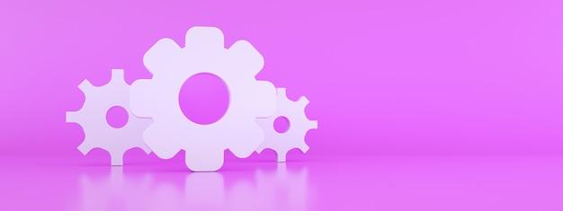 Ikona koła zębatego na różowym tle, renderowanie 3d, panoramiczna makieta