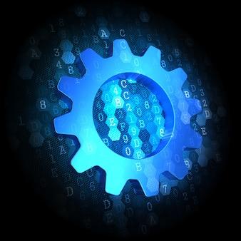 Ikona koła zębatego - tekst w kolorze niebieskim na ciemnym tle cyfrowym.