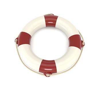 Ikona koło ratunkowe na białym tle. sos, ochrona, opiekun. 3d ilustracja.