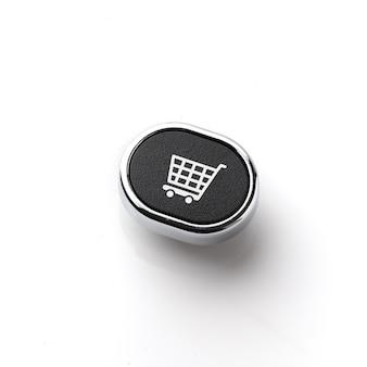Ikona koncepcja strategii biznesu, marketingu i zakupów online na klawiaturze komputera
