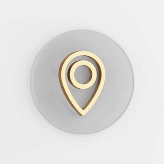 Ikona konturu liniowego złoty symbol lokalizacji. 3d renderowania szary okrągły przycisk klucza, element interfejsu użytkownika interfejsu użytkownika.